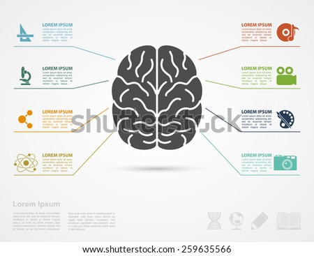 infographic template with brain silhouette and icons af arts and science - stock photo