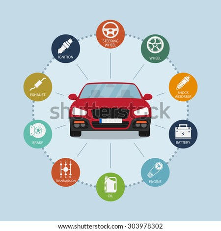 infographic template with car and car parts icons, service and repair concept - stock photo