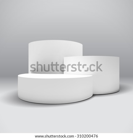 Infographic white 3D pedestal or graph - stock photo