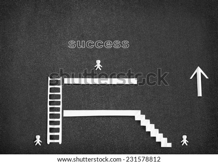 Infographic with White paper people climb the ladder to success - stock photo
