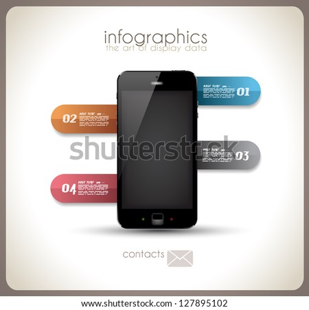 Infographics Desgin template with high tech smartphone with touch screen and a lot of paper tags - stock photo