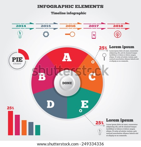 Infographics elements. Pie chart and timeline diagram with icons. Modern colored circle flat graph with five options.  - stock photo