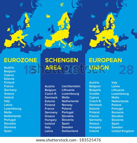 Infographics: European economic associations: Eurozone, Schengen Area, European Union