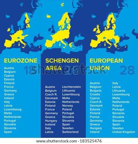 Infographics: European economic associations: Eurozone, Schengen Area, European Union - stock photo