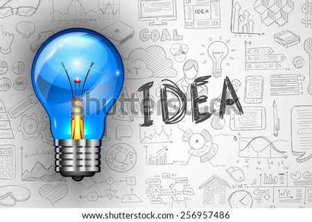 Infographics Idea Lamp with Business doodles Sketch background: infographics vector elements isolated, . It include lots of icons included graphs, stats, devices,laptops, clouds, concepts and so on. - stock photo