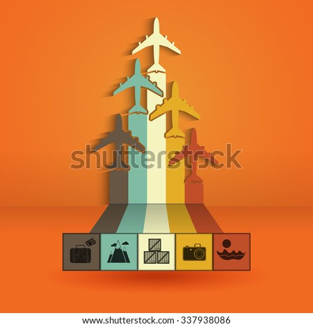 Infographics with colorful airplanes. Statistics trips, air travel, cargo flights, vacation and tickets illustration - stock photo