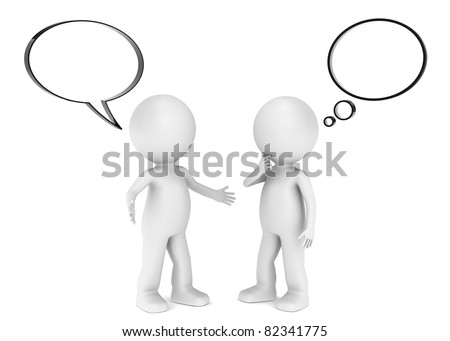 Inform. 3D little human character X 2 with a Think and Speech bubbles. Blank for copy space. - stock photo
