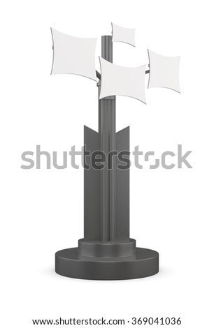 Information booth at the front on a white background. 3d rendering. - stock photo