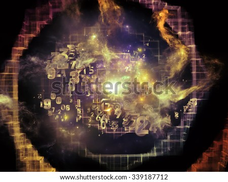 Information Cloud series. Arrangement of connected abstract elements on the subject of cloud networking, information, data storage and modern technology - stock photo
