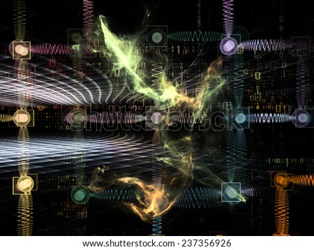 Information Cloud series. Artistic background made of connected abstract elements for use with projects on cloud networking, information, data storage and modern technology - stock photo
