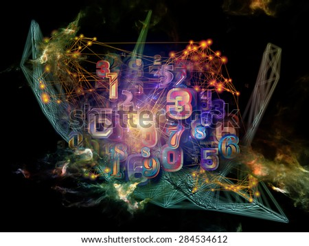 Information Cloud series. Backdrop composed of connected abstract elements and suitable for use in the projects on cloud networking, information, data storage and modern technology - stock photo