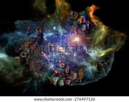 Information Cloud series. Backdrop of connected abstract elements on the subject of cloud networking, information, data storage and modern technology - stock photo