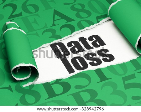 Information concept: black text Data Loss under the curled piece of Green torn paper with  Hexadecimal Code