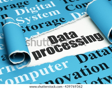 Information concept: black text Data Processing under the curled piece of Blue torn paper with  Tag Cloud, 3D rendering