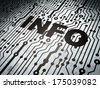 Information concept: circuit board with  word Info, 3d render - stock photo