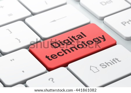 Information concept: computer keyboard with word Digital Technology, selected focus on enter button background, 3D rendering - stock photo
