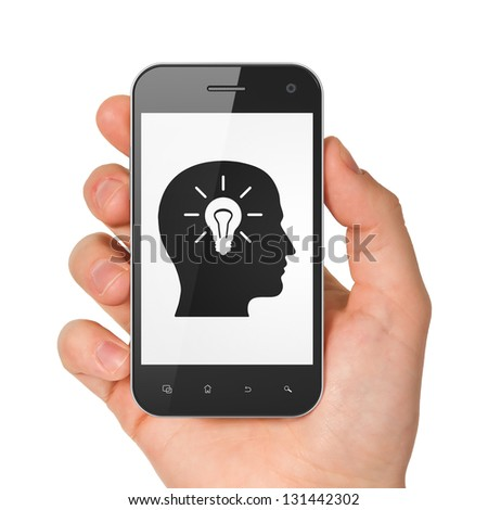 Information concept: hand holding smartphone with Head Whis Light Bulb on display. Generic mobile smart phone in hand on White background. - stock photo