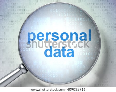 Information concept: magnifying optical glass with words Personal Data on digital background, 3D rendering - stock photo