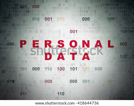 Information concept: Painted red text Personal Data on Digital Data Paper background with Binary Code - stock photo