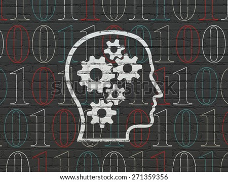 Information concept: Painted white Head With Gears icon on Black Brick wall background with  Binary Code, 3d render - stock photo