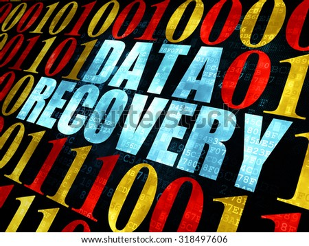 Information concept: Pixelated blue text Data Recovery on Digital wall background with Binary Code - stock photo