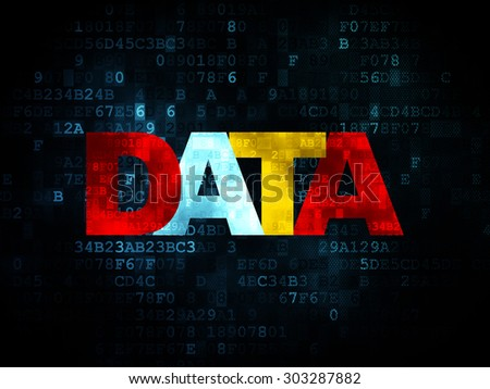 Information concept: Pixelated multicolor text Data on Digital background, 3d render - stock photo