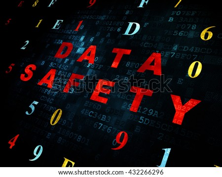 Information concept: Pixelated red text Data Safety on Digital wall background with Hexadecimal Code - stock photo