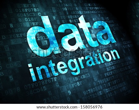 Information concept: pixelated words Data Integration on digital background, 3d render - stock photo