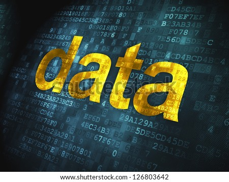 Information concept: pixelated words Data on digital background, 3d render - stock photo