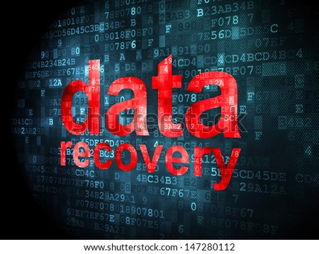 Information concept: pixelated words Data Recovery on digital background, 3d render - stock photo
