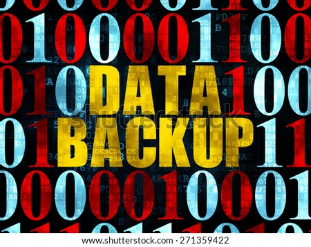 Information concept: Pixelated yellow text Data Backup on Digital wall background with Binary Code, 3d render - stock photo