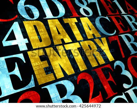 Information concept: Pixelated yellow text Data Entry on Digital wall background with Hexadecimal Code - stock photo