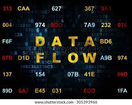 Information concept: Pixelated yellow text Data Flow on Digital wall background with Hexadecimal Code, 3d render - stock photo