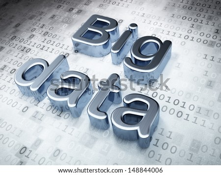 Information concept: Silver Big Data on digital background, 3d render - stock photo
