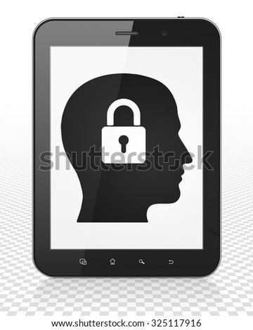 Information concept: Tablet Pc Computer with black Head With Padlock icon on display
