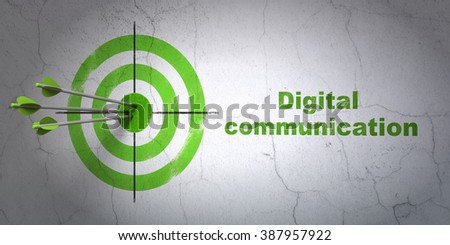 Information concept: target and Digital Communication on wall background - stock photo