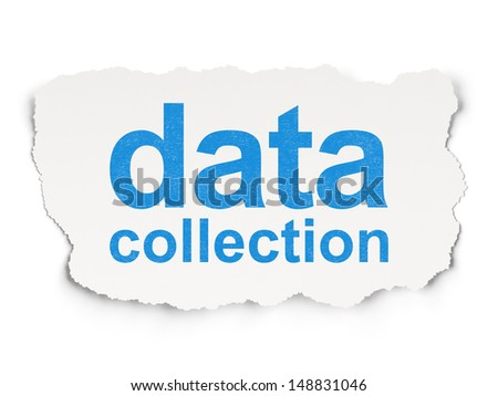 Information concept: torn paper with words Data Collection on Paper background, 3d render - stock photo