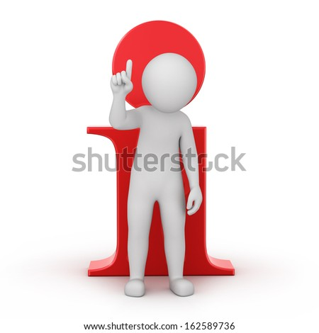 information! 3d human and an info icon. image with a work path - stock photo