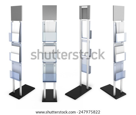 Information desk front view with material from different species isolated on white background. 3d render image. - stock photo
