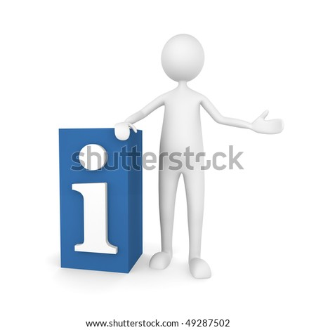 Information. Man standing next to information letter i; great for information concepts. - stock photo