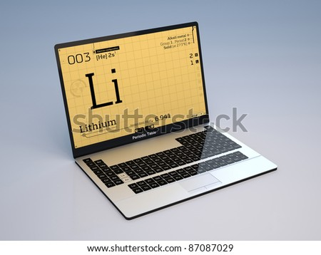 Information of the lithium atom are displayed on screen of a laptop concept that has the keyboard as the Mendeleev's periodic table - stock photo