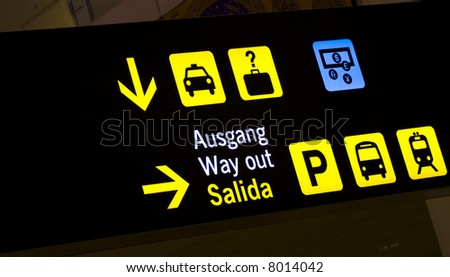 Information panel about taxi, bus and train station.