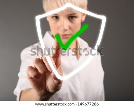 Information protection security concept with girl - stock photo