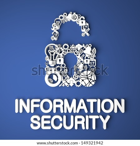Information Security Card Handmade from Paper Characters on Blue Background. 3D Render. Business Concept. - stock photo