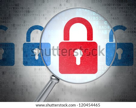 Information security concept -- Magnifying optical glass with closed and opened locks icons on digital background, 3d render