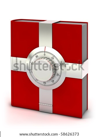 Information security concept. Red book with combination safe lock. - stock photo
