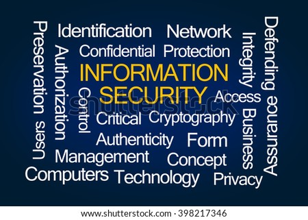 Information Security Word Cloud on Blue Background - stock photo