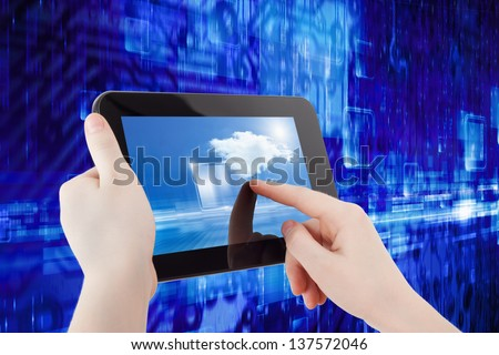 Information technology background - abstract tablet computer in hands, cloud computing, augmented reality