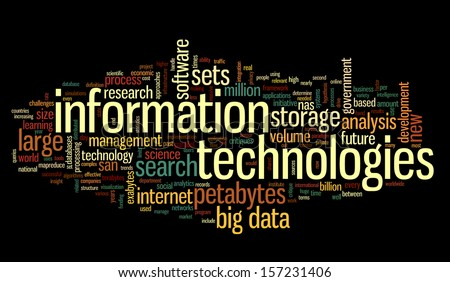 Information technology concept in tag cloud on black background - stock photo