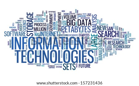 Information technology concept in tag cloud on white background